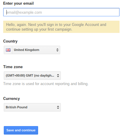 First page of Google AdWords application form